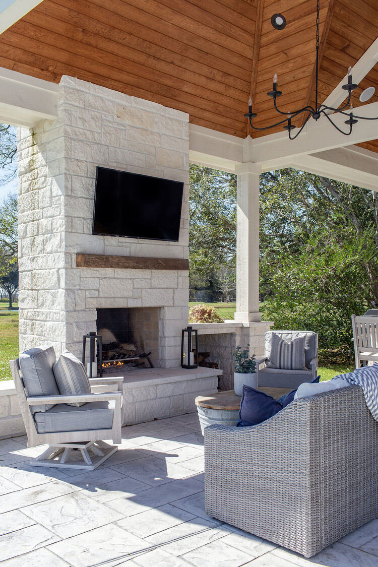 Outdoor Fireplace by Walker Interiors