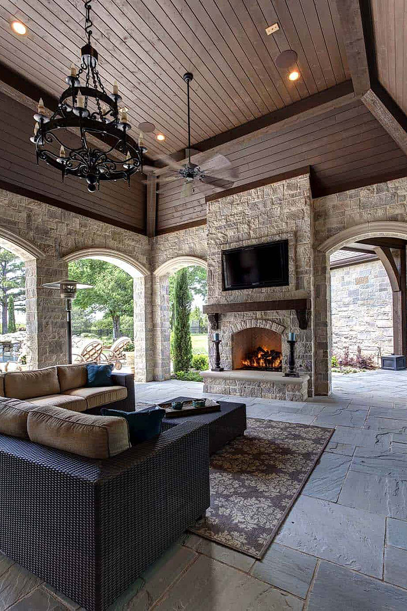 Outdoor Fireplace by Simmons Estate Homes