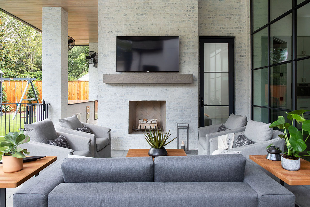 Outdoor Fireplace by Frankel Building Group